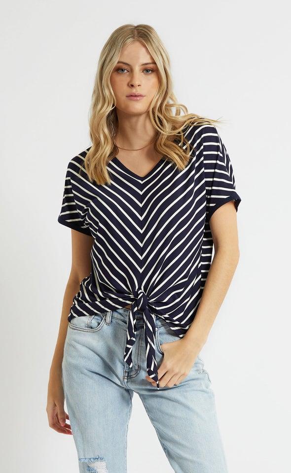 Stripe Jersey Tie Front Tee Navy/white