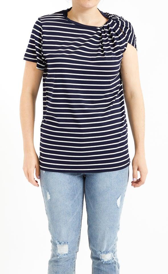 Stripe Jersey Twist Shoulder Tee Navy/white