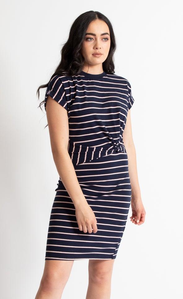 Stripe Jersey Twist Side Detail Dress