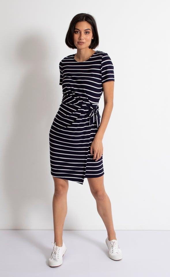 Stripe Jersey Wrap Detail Dress
