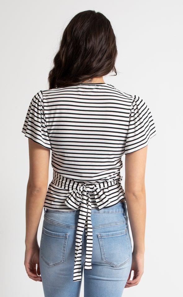 Stripe Jersey Wrap Top White/black