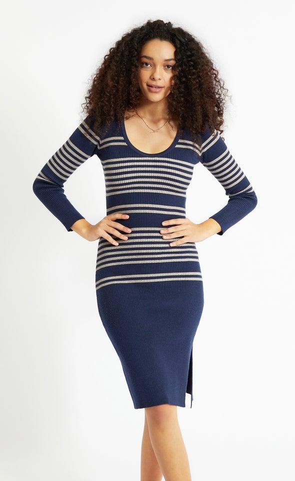 Striped Knitwear LS Dress Navy/grey Marle