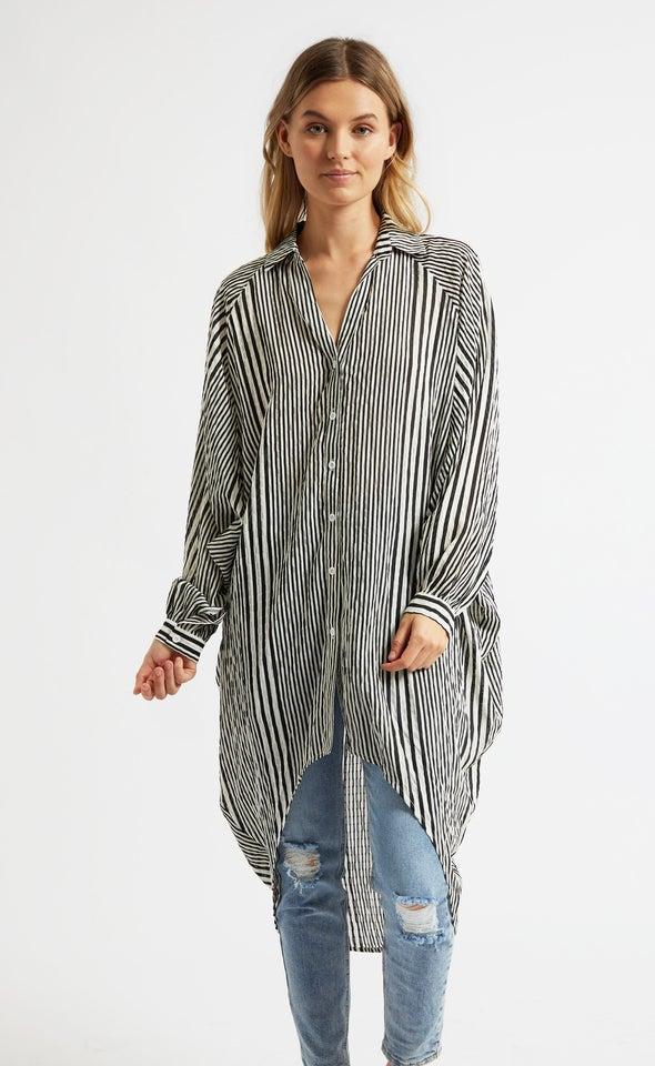 Striped Longline Shirt Blk/white