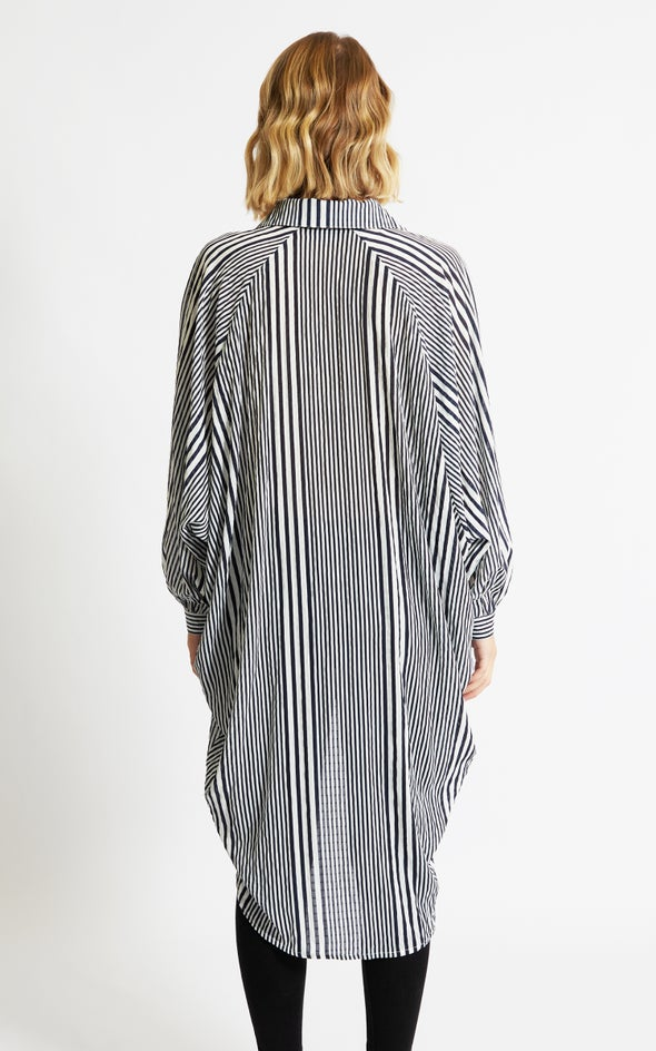 Striped Longline Shirt Navy/white