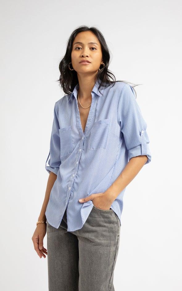 Striped Roll Sleeve Shirt Blue/white