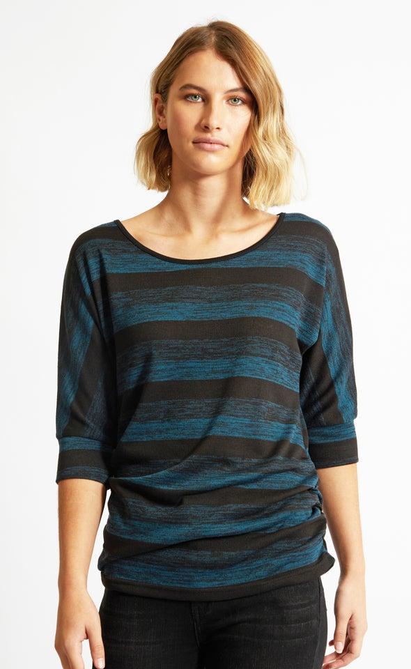 Striped SW Knit Jumper Emerald Black