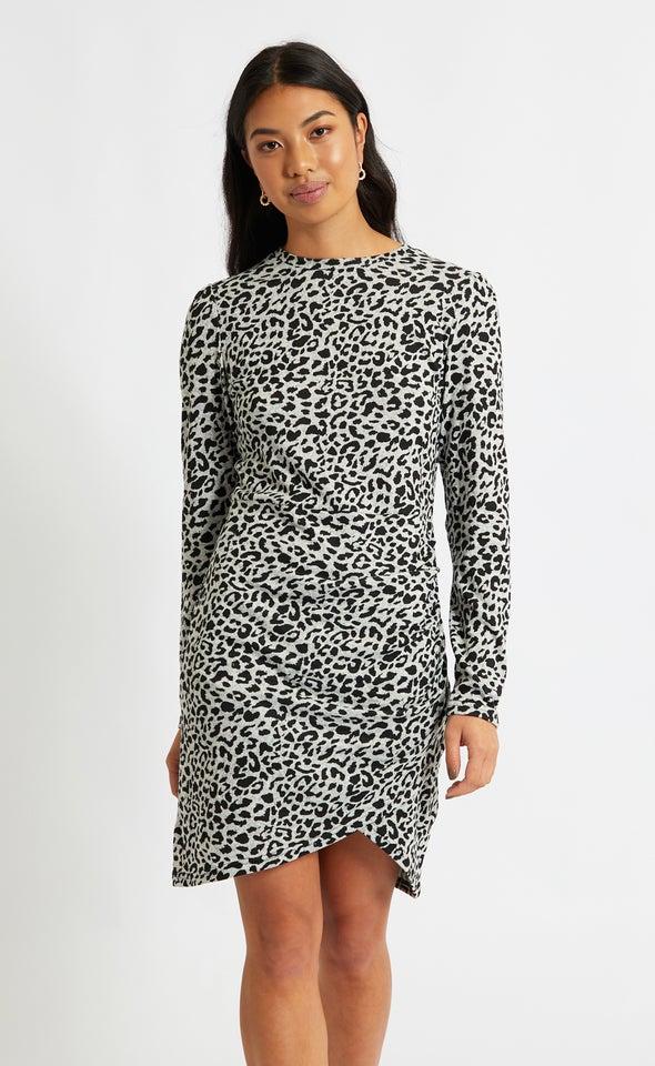SW Knit Animal Print LS Dress Grey/black