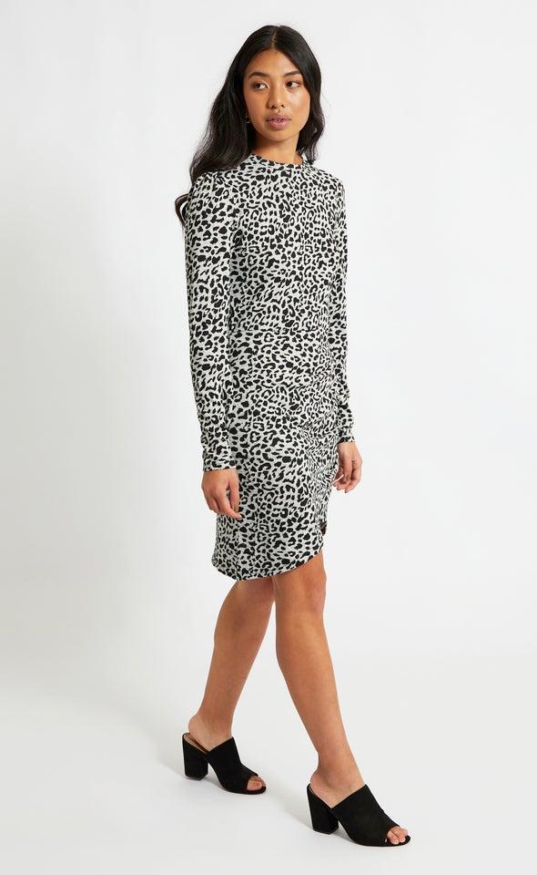 SW Knit Animal Print LS Dress