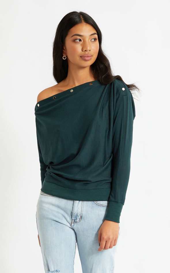 SW Knit Dome Detail Jumper Emerald