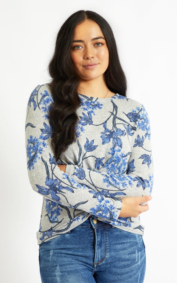 SW Knit Floral Knot Front Top Grey/blue