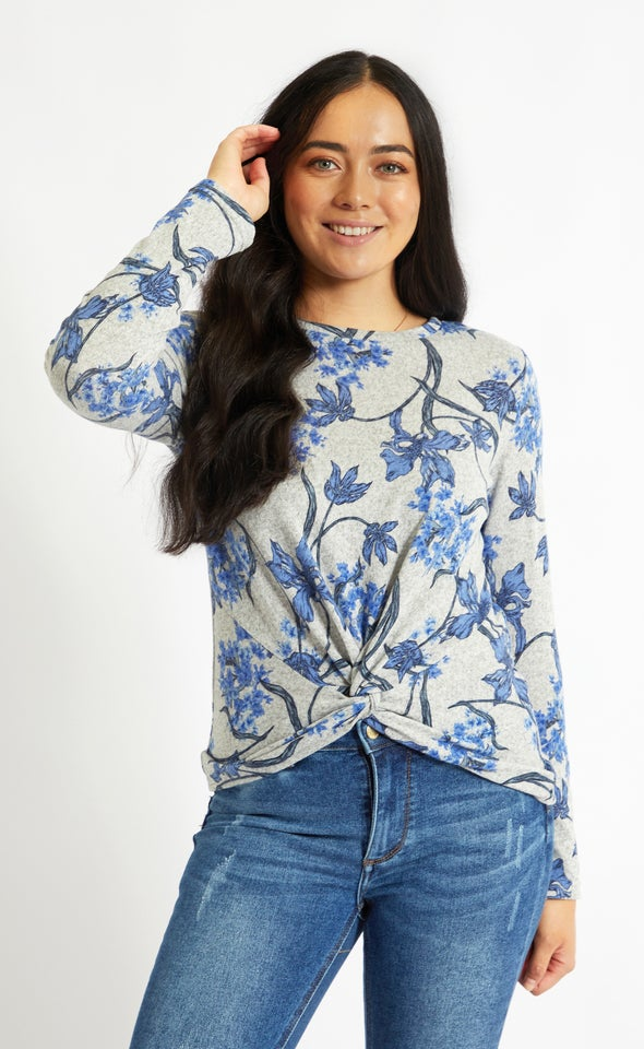 SW Knit Floral Knot Front Top