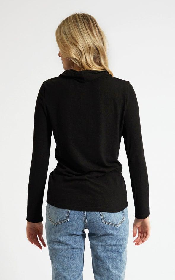 SW Knit Funnel Neck Twist Sweater Black