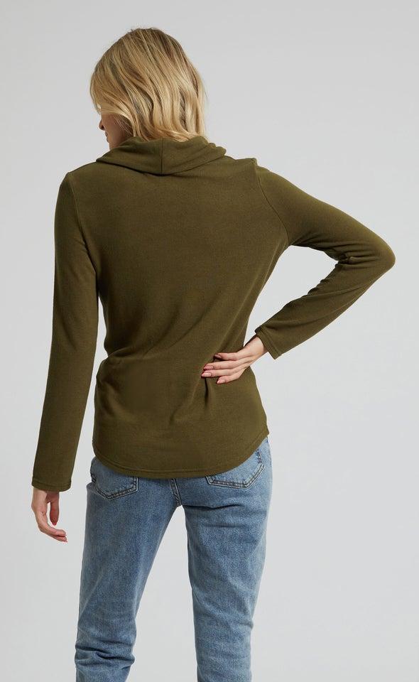 SW Knit Funnel Neck Twist Sweater Khaki