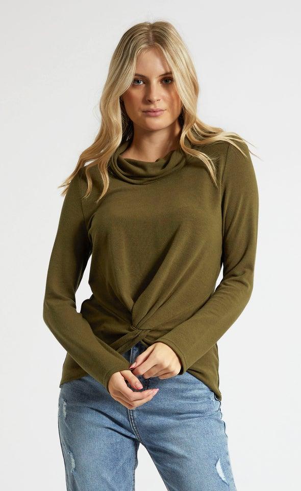SW Knit Funnel Neck Twist Sweater