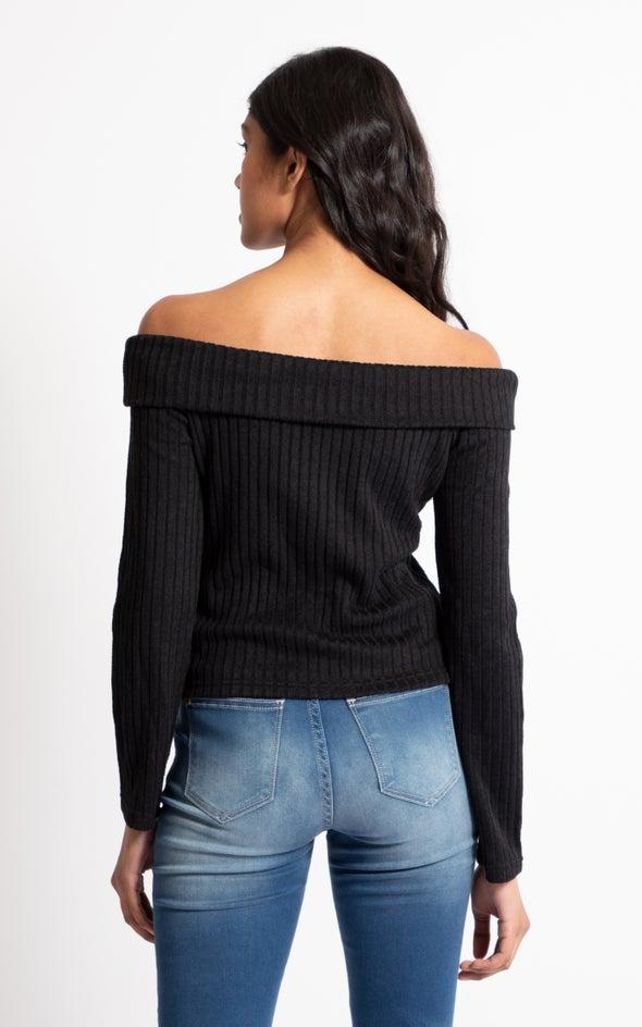 SW Knit Off The Shoulder Top Black