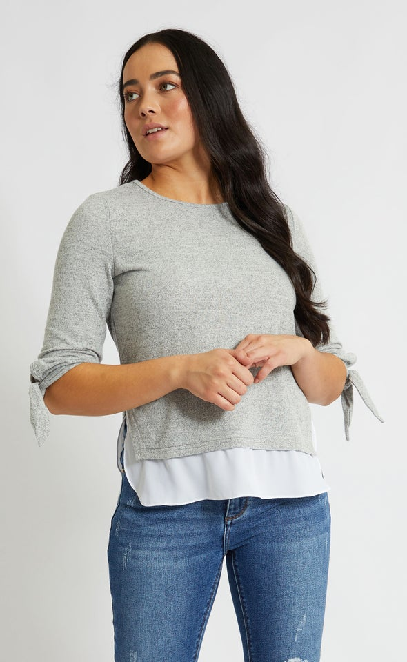 SW Knit Tie Sleeve Layered Top Grey Marle