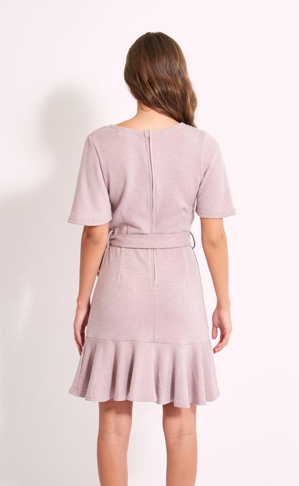 Sweater Knit Frill Hem Dress Blush