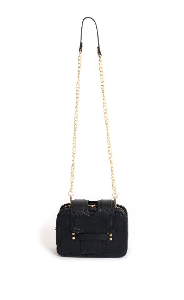 Tab Closure Handbag Black