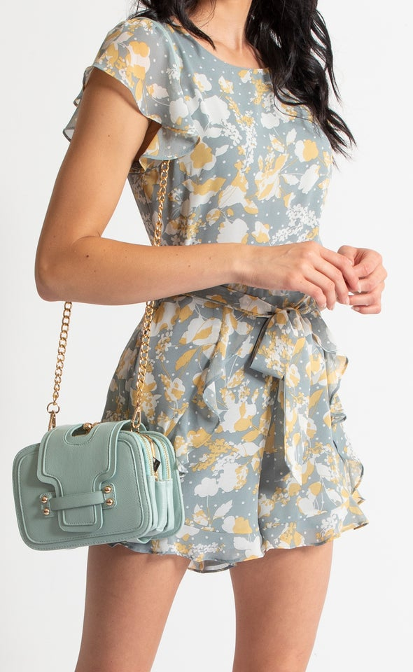 Tab Closure Handbag Sage