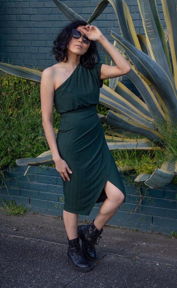 Textured Jersey One Shoulder Dress