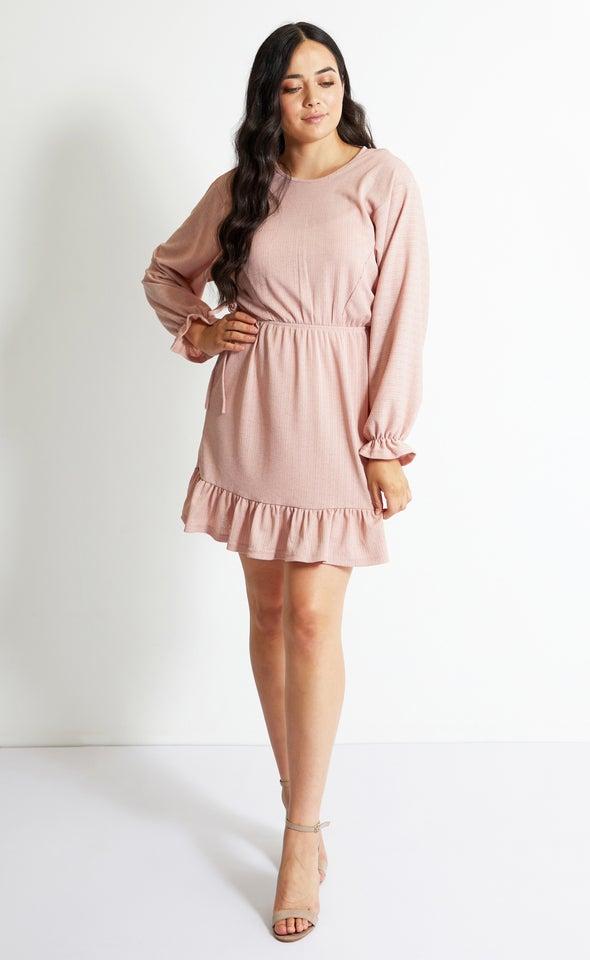 Textured Knit Batwing LS Dress