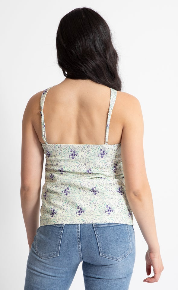 Textured Knit Floral Cross Over Cami Yellow Floral