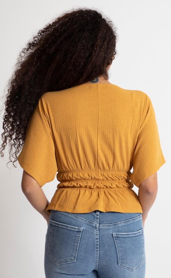 Textured Knit Peplum Top Ochre