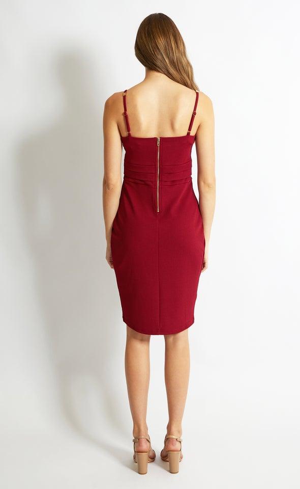 Textured Knit Pleated Dress Maroon