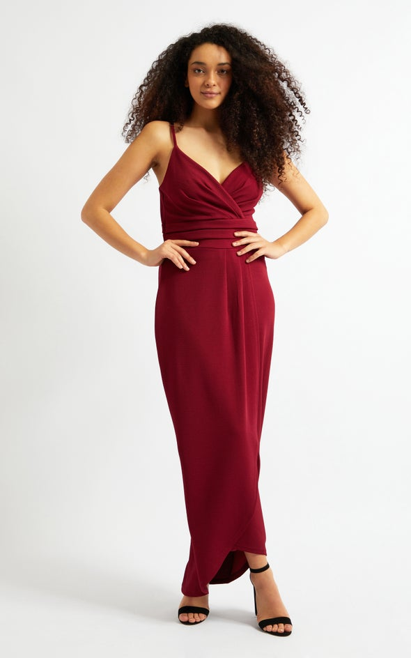 Textured Knit Pleated Gown Maroon