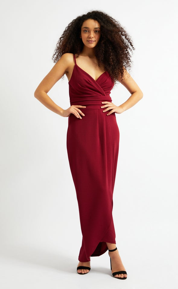 Textured Knit Pleated Gown