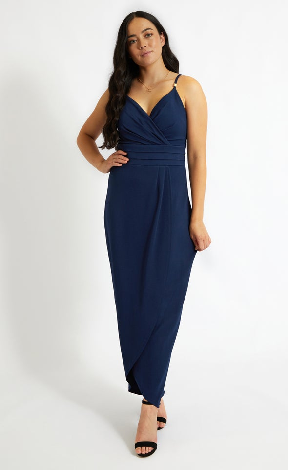 Textured Knit Pleated Gown Navy