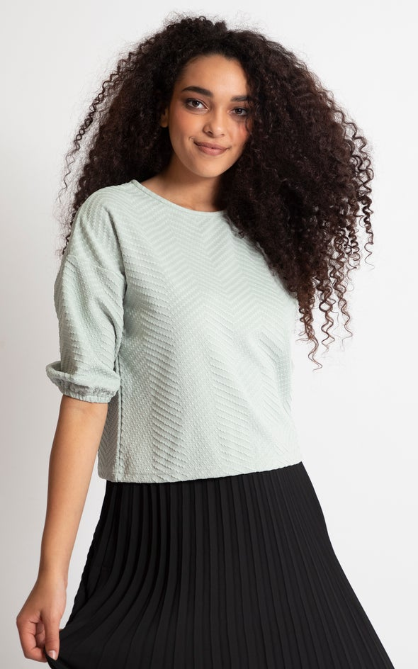 Textured Knit Puff Sleeve Top Sage