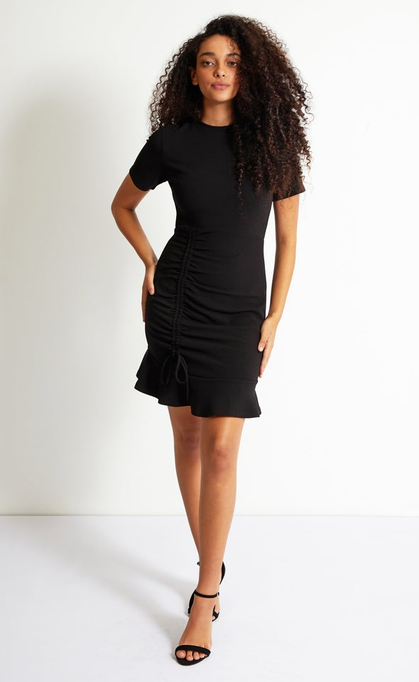 Textured Knit Ruched Detail Dress