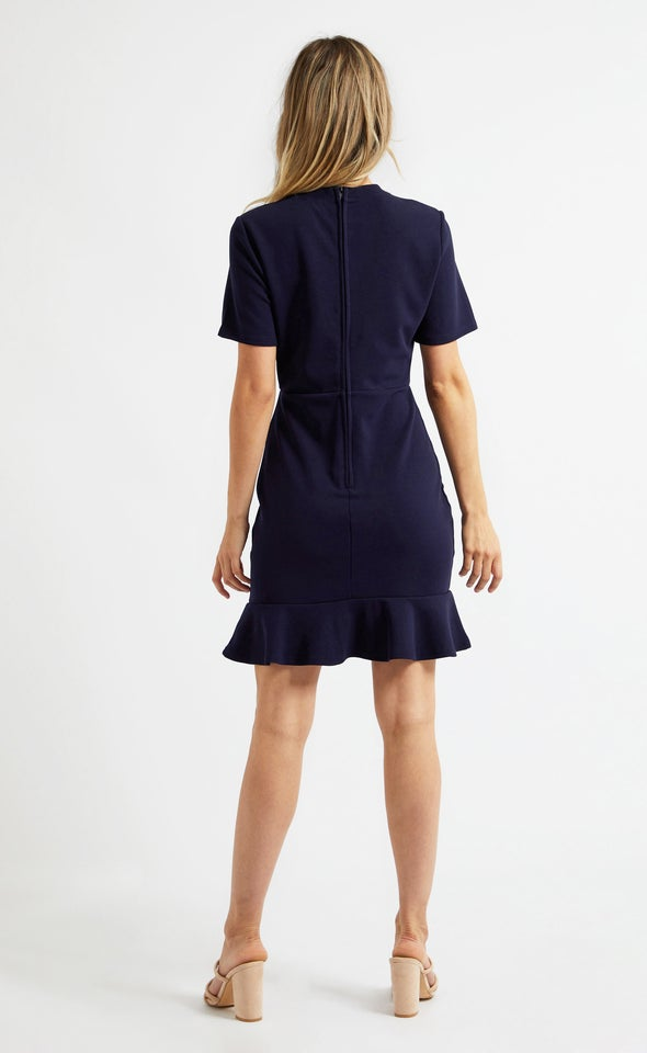 Textured Knit Ruched Detail Dress Navy