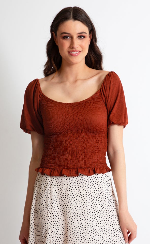 Textured Knit Shirred Puff Sleeve Top Rust