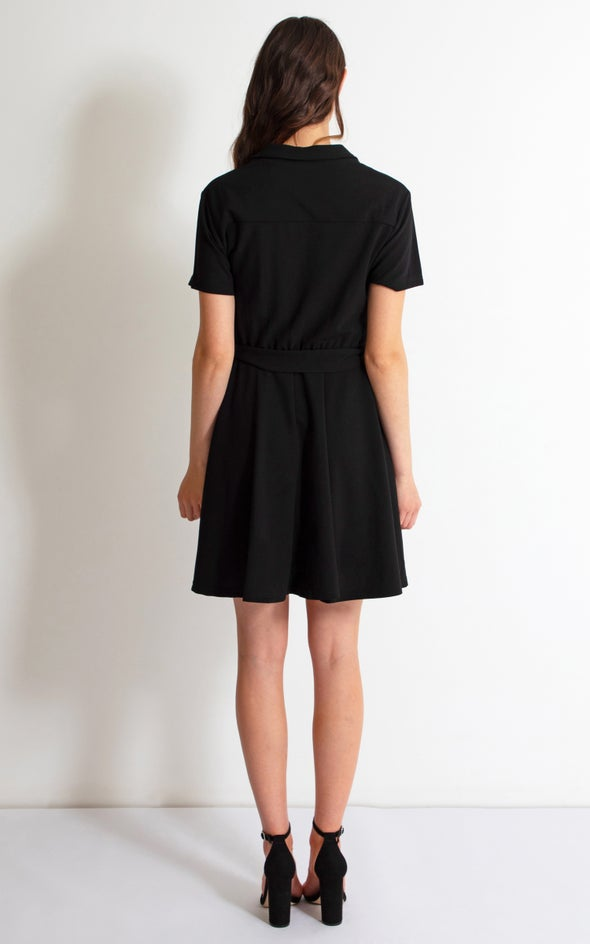 Textured Knit Shirt Dress Black