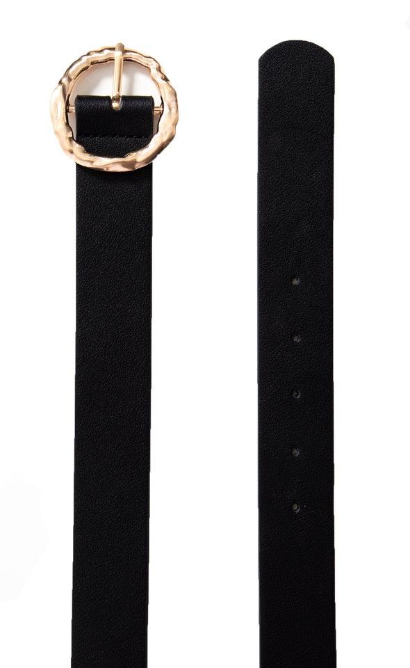 Textured Round Buckle Belt Gold/black