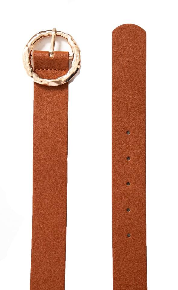 Textured Round Buckle Belt