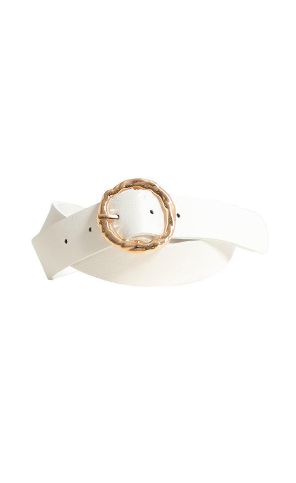 Textured Round Buckle Belt Gold/white