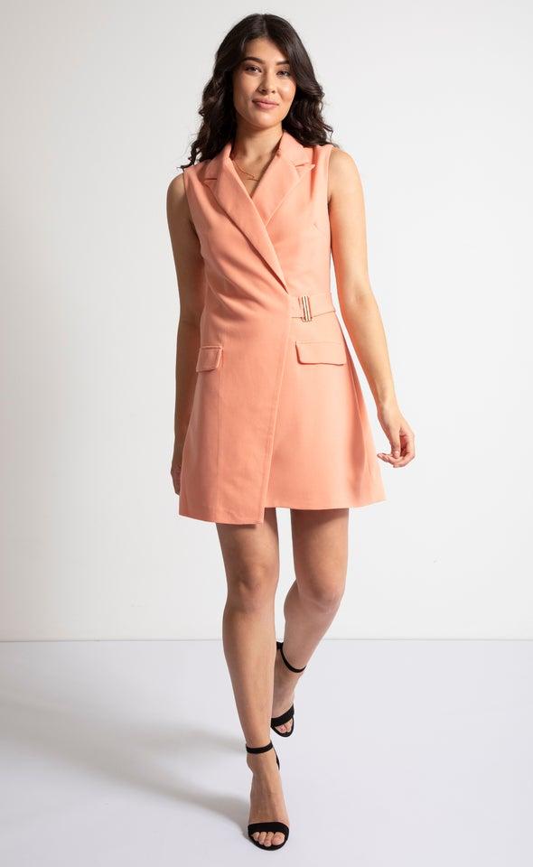 Textured Scuba Buckle Blazer Dress Peach