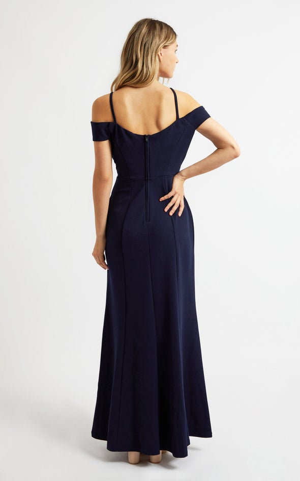 Textured Scuba Embellished Belt Gown Navy