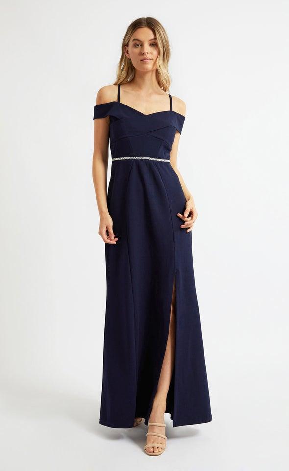 Textured Scuba Embellished Belt Gown