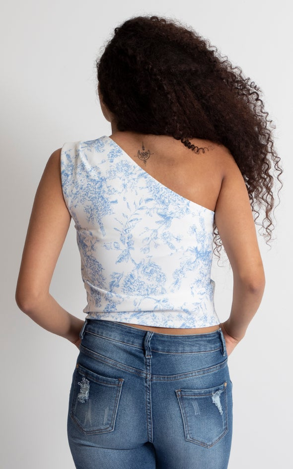 Textured Scuba Floral Asymmetric Top White Floral