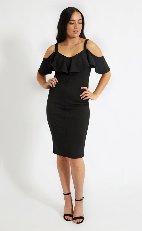 Textured Scuba Frill Neckline Dress Black