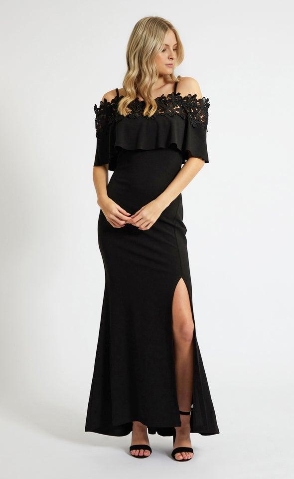 Textured Scuba Lace Trim Gown Black