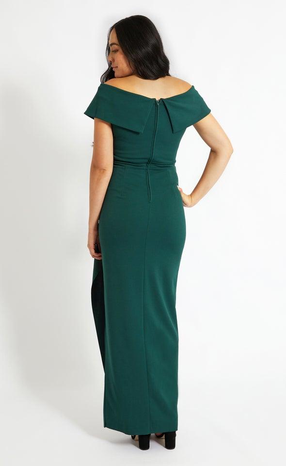 Textured Scuba Off Shoulder Ruffle Gown Emerald