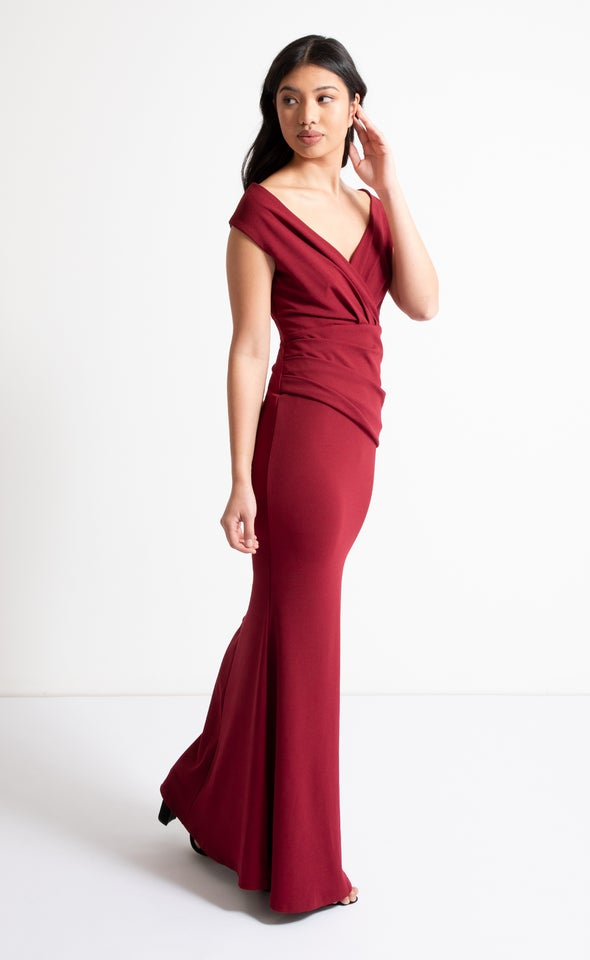 Textured Scuba Off The Shoulder Gown Maroon