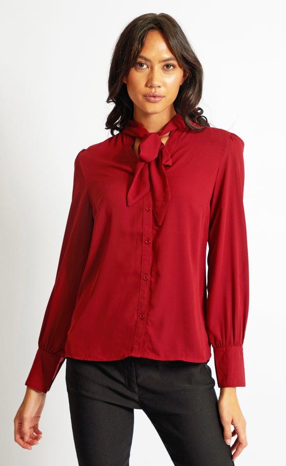 Tie Detail Shirt Berry