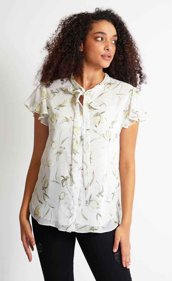 Tie Detail Shirt Green Print