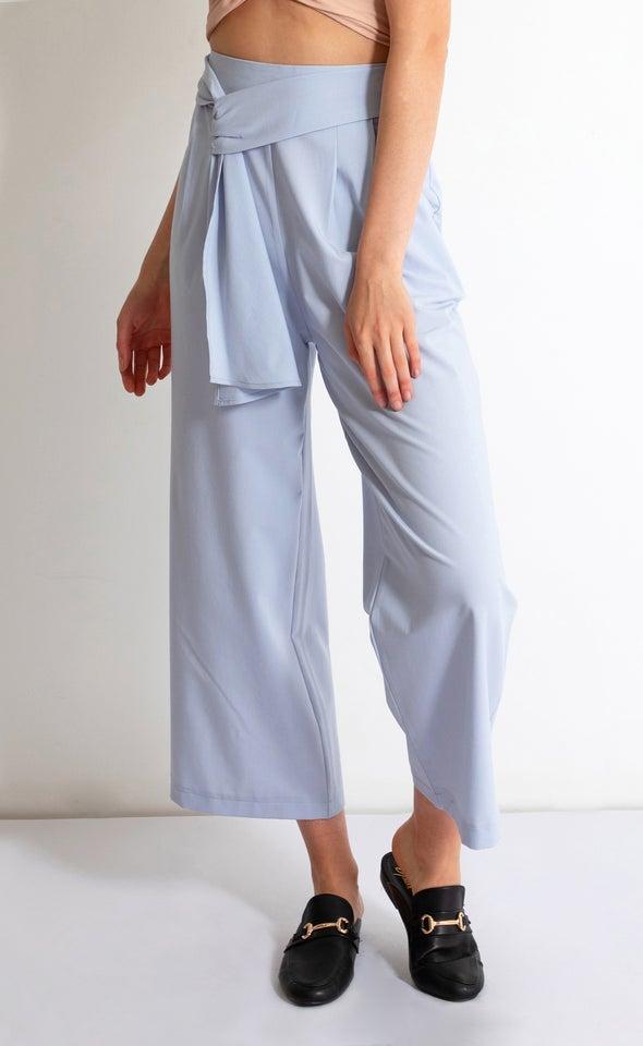 Tie Detail Wide Leg Pants Light Blue